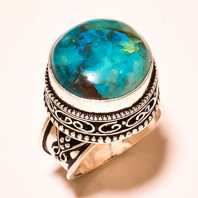 """Chrysocolla Royal Look With Vintage Design 925 Silver Gemstone Ring S-6"""""""