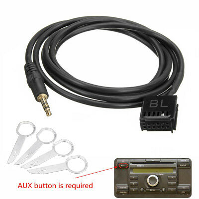 6000CD AUX Input Adapter Cable 3.5mm Jack Plug MP3 + Removal Keys For Ford Focus