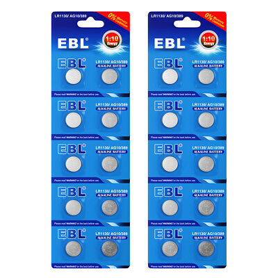 10pcs EBL LR1130 AG10 389 189 LR54 1.5V Alkaline Button Cell Batteries