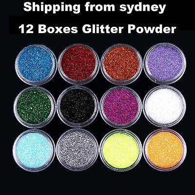 12 Boxes Mixed Color Nail Art Acrylic Glitter Powder Dust Tips Flash Art Sequins