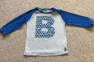 2f897139336d BAKER BY Ted Baker Boys Top Age 3-4 Blue And Grey 3 4 Sleeve Panda B ...