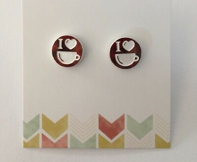 Coffee Stud Earrings, Dark Red & White Acrylic, Surgical Steel, Love I Heart Cup