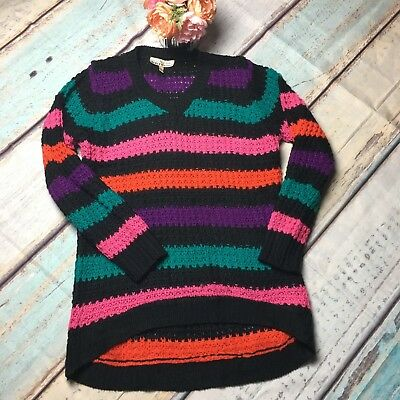 Derek MATERNITY Sweater LARGE Cable Knit Multi-Colored Striped Hi/Lo Sweater