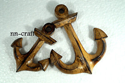 Antique Anchor Wall Hanging Handmade Mango Wood Nautical Ship Sailboat Decor 2PC