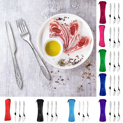 3Pcs/set Stainless Steel Travel Camping Lunch Cutlery Fork Spoon Knife Nice