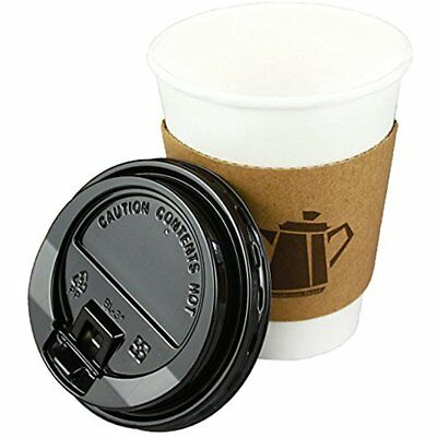 12 Oz. Leak-Free Disposable White Paper Coffee Cups Lids, Sleeves, Stirrers Hot
