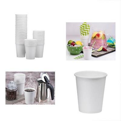 100-Pack 8oz White Paper Disposable Cups Hot/Cold Beverage Drinking Water, Tea