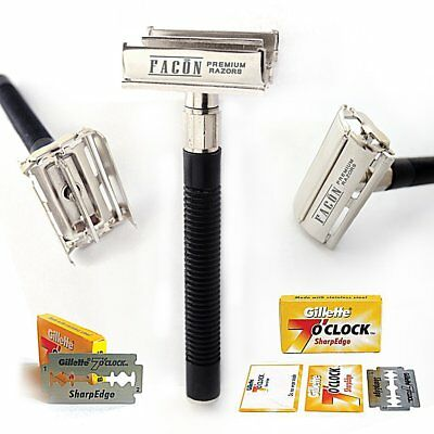 Men's Traditional Classic Double Edge Shaving Safety Razor Butterfly + 5 Blades