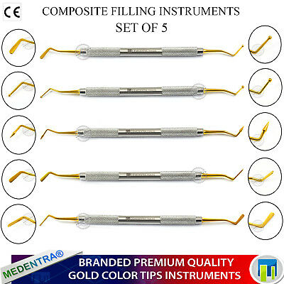 5Pcs Dental Composite Amalgam Plastic Filling Instruments Contouring Scaler