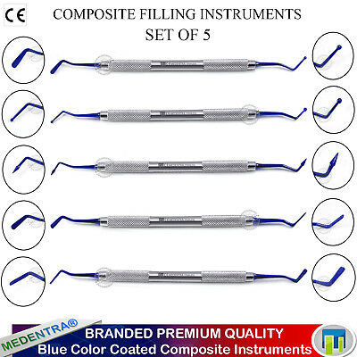 5Pcs Dental Tooth Cavity Preparation Composite Plastic Filling Instruments Lab