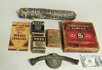 Box Lot Early 1900s Antique vtg NOS Automobile Accessories Advertising Ford Car