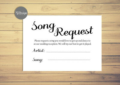 Wedding Song Request Cards Stationery Invites Invitations