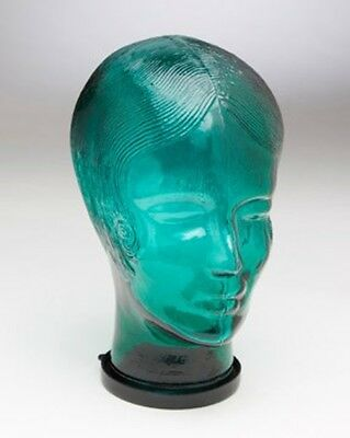 Vintage Green Glass Store Display Mannequin Wig Hat Head Bust with Hair WOMAN
