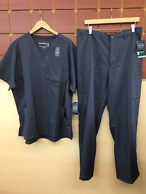 NEW Men's Wink Tech Gray Solid Scrubs Set With Large Top & Large Pants NWT