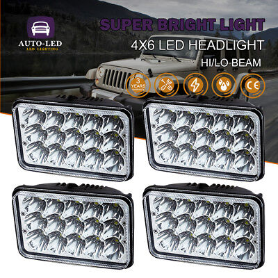 "4pcs 4X6"" LED Headlights For Peterbilt Kenworth T-600 W900 T800 Chevy C10 K10"