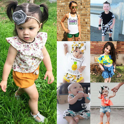 2PCS Baby Girl Boys Summer Vest T-shirt Tops+Shorts Outfits Toddler Kids Clothes