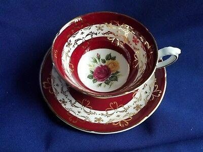 Royal Grafton England Rose INSIDE Footed Cup & Saucer PERFECT gilded
