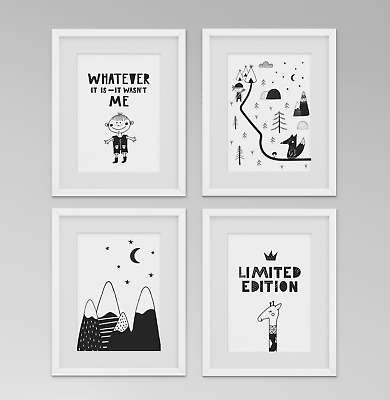 Prints Pictures for Boys Bedroom, Scandinavian Style, Limited Edition - Set 3