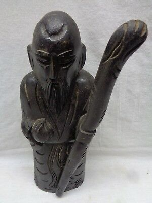 VTG HAND CARVED WOOD CHINESE OLD WISE MAN WITH STAFF STATUE Antique Estate Item