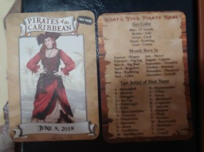 """Redd Red Head Pirates Caribbean  Disneyland """"I Was There"""" Card  2 PACK FREE SHIP"""