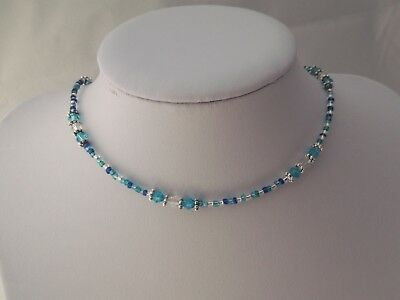Handmade Blue Crystal Glass Beaded Seed Bead Choker Necklace 15-17.5inch