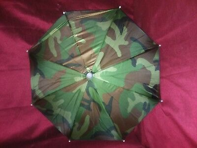 2 New Camo Hands Free Umbrella Hats-One Size Fits All