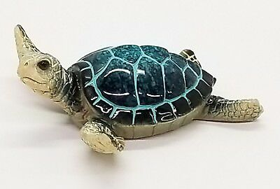 blue baby sea turtle figurine nautical beach coastal decor new