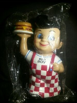 "1999 sealed Bob's Big Boy 8"" Vinyl Figure Bank Elias Brothers Restaraunts fast s"