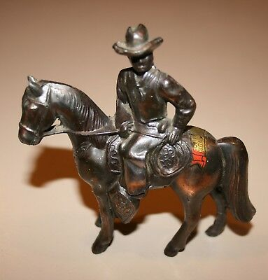 1960's Pot-Metal Horse With Cowboy Copper / Bronze Finish Rodeo Carnival Prize