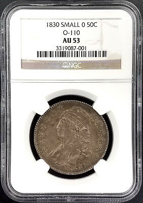 1830 Capped Bust Half Dollar, O-110, Small 0 variety, graded AU 53 by NGC!