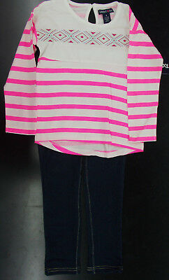 Infant & Girls Limited Too $42-$44 2pc Neon Pink & White Striped Set Sz 12m - 6X