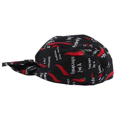 Unisex Catering Chef's Headwrap Bandana Hat Head Do Tied Caps Red