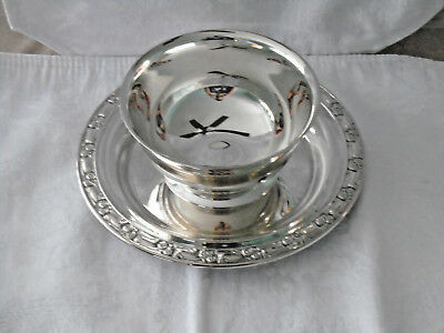 Oneida Park Lane Silverplate Gravy Boat with Underplate Vintage Silver Plate