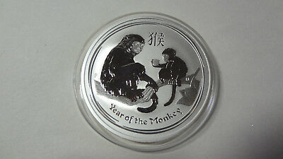 "2016 Australian Lunar "" Monkey "" 1 oz  silver coin in mint capsule."