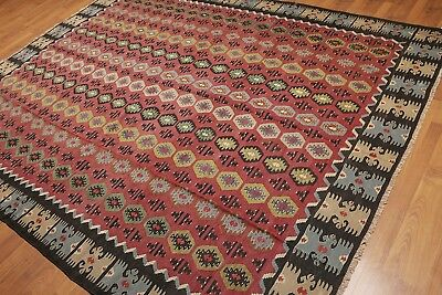 8' x 10' Vintage Hand Woven Southwestern Tribal Turkish Kilim 100% Wool Area Rug