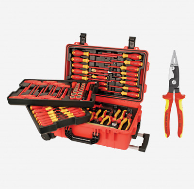 Wiha Tool Set 132802 80 Piece Insulated Rolling Case + Free Knipex Pliers New