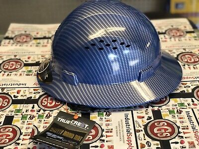 HDPE Hydro Dipped Blue Silver Full Brim Hard Hat with Fas-trac Suspension