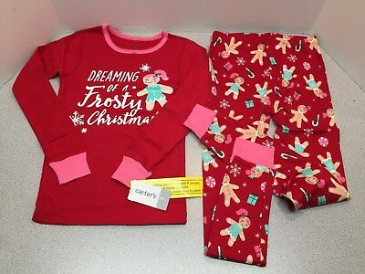 58d12c223 CARTERS GIRLS 12M-12 2 Piece Frosty Christmas Graphic Pajamas Red 7 ...