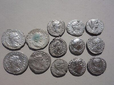lot of 13 Roman silver denarius & antoninianus Emperors coin,dated 1st-3rd A.D.