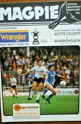 Notts County V Scarborough 17/11/1985 Fa Cup