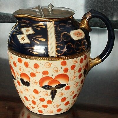 Mid Victorian GAUDY WELSH Lidded Water Jug, Imari Style Pattern with Gilding