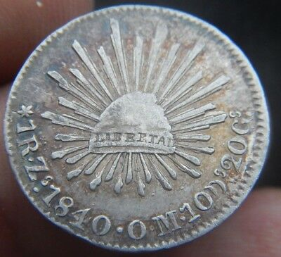 Mexico  1 Real 1840 Zs OM ZACATECAS, KM#372.10 XF+ CONDITION