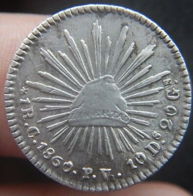 Mexico 1 Real 1860 C PV CULIACAN, KM#372.1 NICE CONDITION