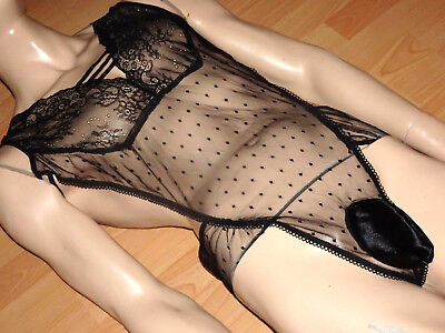 Herren Dessou Body Stocking Herren Spitze Slip Adult Rubber Panty Lace Xl