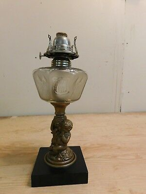 Antique Cast Metal Figural Baby Boy Etched Grapes Fount American Flag Oil Lamp