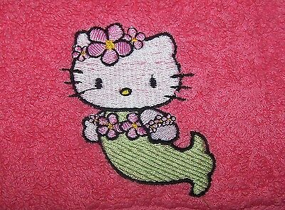 """""""personalized Embroidered Hello Kitty Mermaid Face Cloth/flannel""""100% Cotton"""