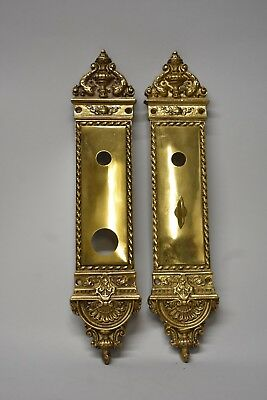 Antique Heavy Cast Brass Neo Classical Entry Door Plates
