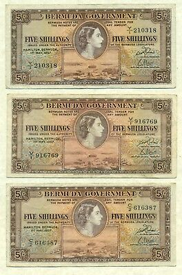 Lot 956 Bermuda 3 Currency 5/ Notes 1957 Double Prefix Very To Extra Fine