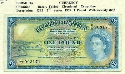 Lot 957 Bermuda Currency £1  Note 1957 With Security Strip. Very To Extra Fine