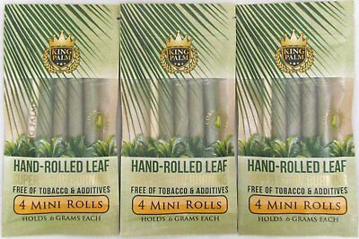 King Palm Mini Rolls 3 Packs Natural Leaf w/ Filter 12 Wraps w/ Packing Stick